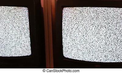 Television static noise black white full screen - Noise gray...