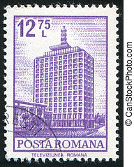 Television Station - ROMANIA - CIRCA 1972: stamp printed by...