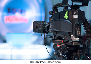 Television studio camera - Video camera lens - recording...