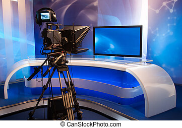 Television studio with camera and lights