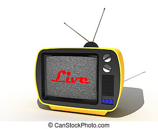 Television, telecommunication and broadcasting media concept, retro tv set receiver.3d illustration