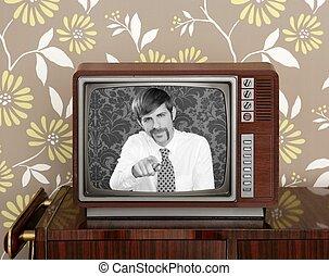 television, television presentatör, ved, retro, mustasch, man