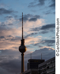 Television tower in Berlin at sunset, Germany