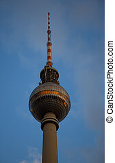 television tower in berlin mitte at sunset