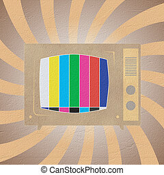 Television ( TV ) icon recycled paper stick on white ...