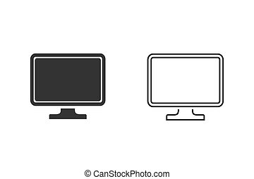 Television, TV line icon set vector illustration