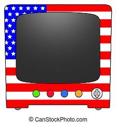 Television USA - Retro Television with USA flag design