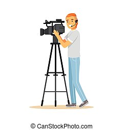 Television video operator with camera on tripod