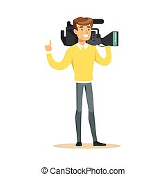 Television video operator with professional camcorder
