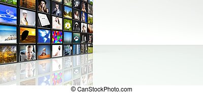 Television video wall LCD TV panels with copyspace