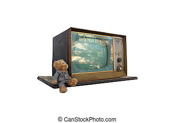 television vintage on isolated