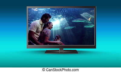 Television with a family at a water park on its screen