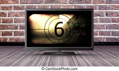 Television with a film countdown