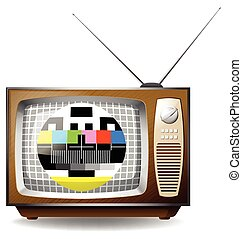 Television with end transmission signal illustration