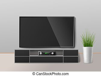 Television with home cinema receiver device, realistic vector illustration.