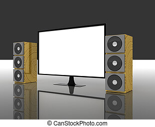 television with surround sound speakers