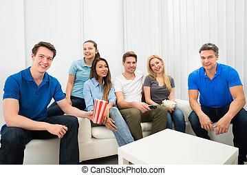 televisione, amici, osservare