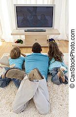 televisione, bambini padre, osservare