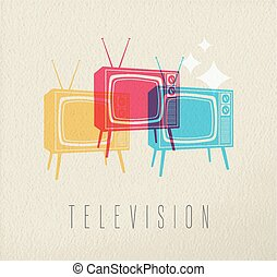 televisione, concetto, colorito, fondo