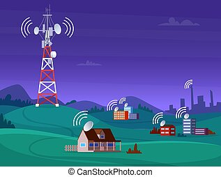 televisione, copertura, mobile, antena, segnale, illustrazione, fili, vettore, radio, tower., cellulare, paesaggio digitale, satelite