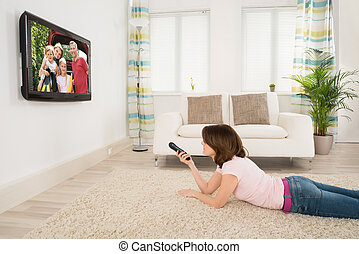 televisione, donna, giovane, osservare