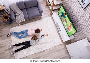 televisione, madre, figlia, osservare