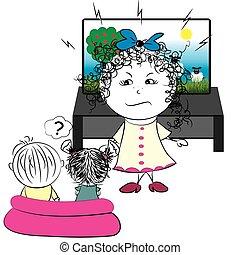 televisione, orologio, bambini, forbids, madre
