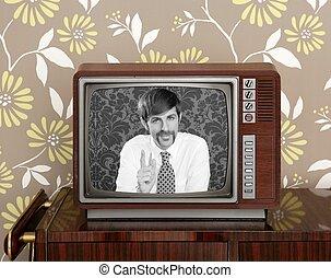 televisione, presentatore tivù, legno, retro, baffi, uomo
