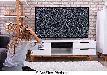 televisione, seduta, segnale, ragazza, no