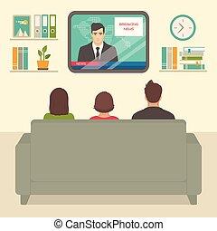 televisione, stanza, famiglia, persone, tv, divano, osservare, seduta, casa