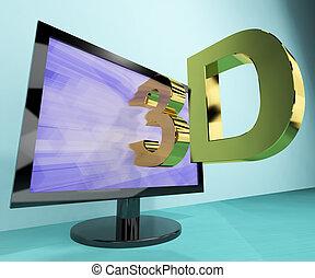 televisione, tre, tv, dimensione, o, hd, 3d