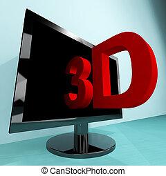 televisione, tv, tre dimensionale, o, hd, 3d