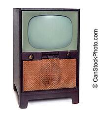 televisione, tv, vendemmia, isolato, 1950, bianco