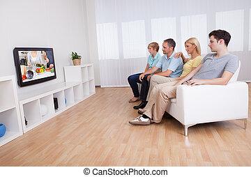 televisione, widescreen, famiglia, osservare