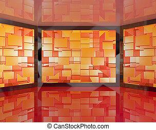 televisioni, definizione, tv, grande, monitor, alto, parete, hdtv, montato, rappresentare, o