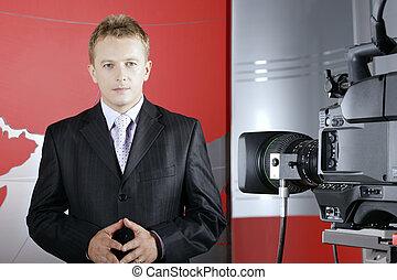 televison, sprawozdawca, i, kamera video