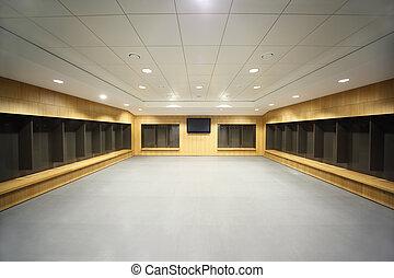 televisor, gris, plancher, room., grand, plafond, grand, mur...