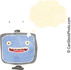televisor, retro, caricatura