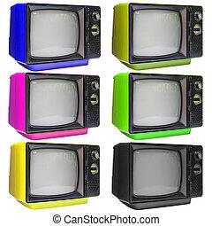 televisor, vindima, isolado, cortando, branca, path., análogo