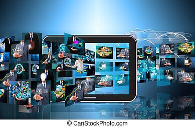 televize, a, internet, výroba, .technology, a, povolání, conc