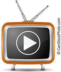 televize, dovádět, ikona, knoflík, za