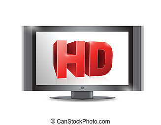televize, hd, screen., ilustrace