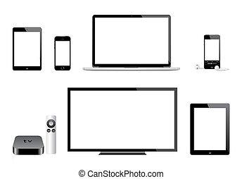 televize, iphone, gumák, jablko, ipad, ipod