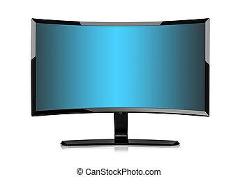 televize, isolated., 3, monitor, nebo