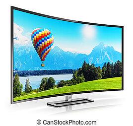 televize, oblý, moderní, 4k, ultrahd