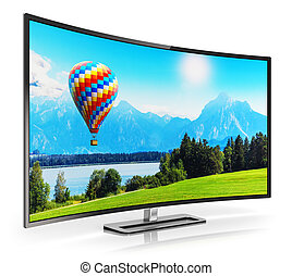 televize, oblý, moderní, ultra, hd, 4k