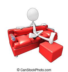 televize, pohovka, 3, charakter, dívaní