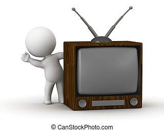 televize, vlnitost, pozadu, za, 3, voják