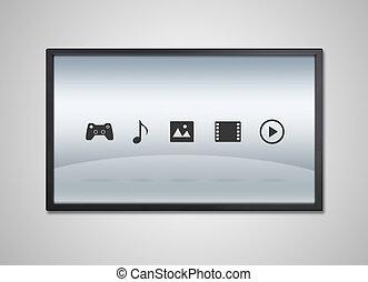 televize, zábava, vystavit, ikona
