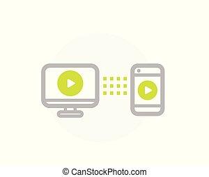 televize, zrcadlo, smartphone, ikona, chránit